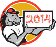 Year of Horse 2014 Showing Sign Cartoon. Illustration of a horse mascot wearing cap showing a sign with words numbers 2014 which is the year of the horse done in Stock Images