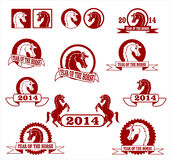 Year of the horse. 2014 year of the horse signs and labels collection royalty free illustration