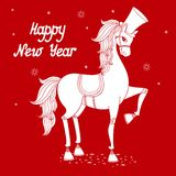 Year of horse 2. White stallion silhouette, 2014 year of the horse vector illustration stock illustration
