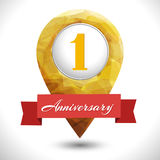 1 year icon. 1 year anniversary logo template with red ribbon  vector template Stock Photo