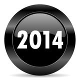Year 2014 icon. Black circle web button on white background Royalty Free Stock Photography