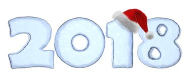 2018 year icy text with red hat Stock Image