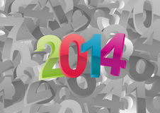 2014 year. Illustration of colorful 2014 text on black and white numbers Royalty Free Stock Photography