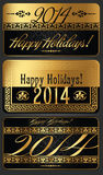 2014 Year illustration. 2014 Year decorative black and golden vector illustration Royalty Free Illustration