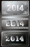 2014 Year illustration. 2014 Year decorative black and silver vector illustration Vector Illustration