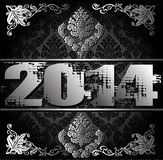 2014 Year illustration. 2014 Year decorative black and silver vector illustration Royalty Free Illustration