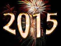 Year 2015. Illustration motif of text spelling 2015 and fireworks for the new years eve celebration of the year 2015 Stock Photos