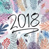2018 year, inscription and trendy winter leaves background. Vector illustration, Great design element for congratulation Stock Image
