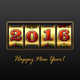 2016 year jackpot. Slot machine with 2016 year jackpot Stock Illustration