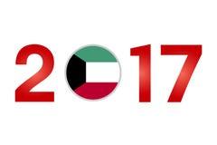 Year 2017 with Kuwait Flag. New Year 2017 with Kuwait Flag isolated on White Background - Vector Illustration Stock Photo