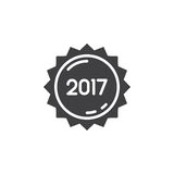 2017 year label, sticker icon vector, filled flat sign, solid pi. Ctogram isolated on white, logo illustration Royalty Free Stock Photography
