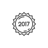 2017 year label, sticker line icon, outline vector sign, linear. Pictogram isolated on white. logo illustration Royalty Free Stock Photos