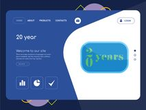 20 year Landing page website template design. Quality One Page 20 year Website Template Vector Eps, Modern Web Design with flat UI elements and landscape Royalty Free Stock Photography