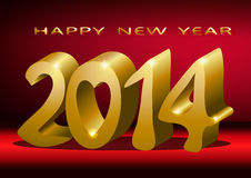 Year 2014. Large golden numerals 2014 , on a red background royalty free illustration