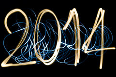 Year 2014. Light painting new year 2014 Stock Photos
