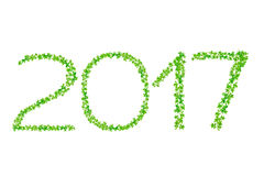 2017 year made from beautiful fresh green leaves isolate on whit Stock Images