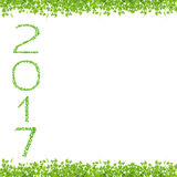 2017 year made from beautiful fresh green leaves isolate on whit Stock Photography