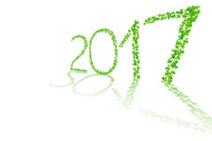 2017 year made from beautiful fresh green leaves isolate on whit Royalty Free Stock Photography