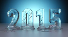 Year 2105 made of ice melting. Transparent figures with blue background Royalty Free Stock Images