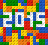 Year 2015 made from plastic construction blocks. Illustration Royalty Free Stock Photos