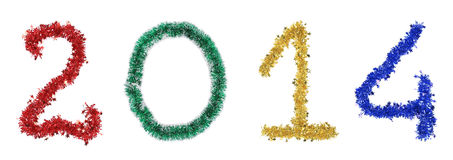 Year 2014 made from tinsel. Royalty Free Stock Images