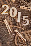 2015 year made of wood Stock Photography