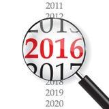 2016 year. & Magnifer on white background Vector Illustration