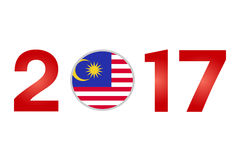 Year 2017 with Malaysia Flag. New Year 2017 with Malaysia Flag isolated on White Background - Vector Illustration Stock Image