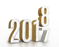 Year 2017 marble and gold texture number change to 2018 new year. In white studio room, New year greeting card  concept,3D rendering Stock Photography