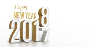 Year 2017 marble and gold texture number change to 2018 new year Stock Image
