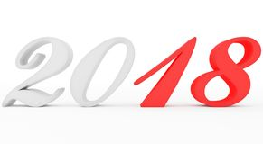 Year 2018 marked red-white script 3d numbers isolated on white. 3d rendering Stock Photo