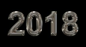 Year 2018 metal 3d numbers isolated on black. 3d rendering Royalty Free Stock Image