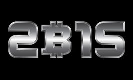 Year 2015, metal numbers with bitcoin currency symbol. Year 2015 - metal numbers with bitcoin currency symbol Royalty Free Stock Images