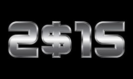 Year 2015, metal numbers with dollar currency symbol. Year 2015 - metal numbers with dollar currency symbol Stock Images
