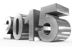 Year 2015. Metallic 3d numbers  on white Stock Photo
