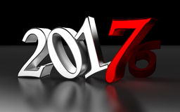 Year 2017 with metallic letters Stock Photography