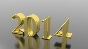 The Year 2014. On a metallic and reflective plane Royalty Free Stock Images