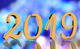 The year 2019 in metallic shining golden numbers with a reflection royalty free stock photos