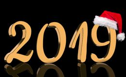 The year 2019 in metallic shining golden numbers with a reflection and a Santa Claus Cap stock image