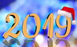 The year 2019 in metallic shining golden numbers with a reflection and a Santa Claus Cap stock photo