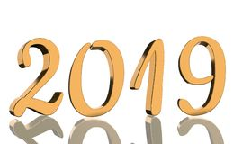 The year 2019 in metallic shining golden numbers with a reflection stock photos