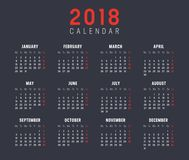 Year 2018 calendar vector template. Year 2018 minimalist calendar, on black background Royalty Free Stock Photography