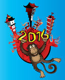 2016 Year of the monkey cartoon and chinese architecture background. Illustration design Royalty Free Stock Photo
