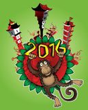 2016 Year of the monkey cartoon and chinese architecture background. Illustration design vector illustration