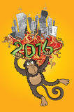 2016 Year of the monkey and cartoon city  illustration. Design Royalty Free Stock Image