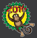 2016 Year of the monkey cartoon  illustration. Design Stock Images