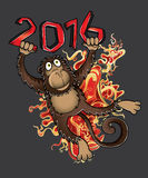 2016 Year of the monkey cartoon  illustration. Design Stock Image