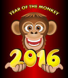 2016 Year of the Monkey. Cartoon style vector. A smiling monkey offering the 2016 number over a red background Royalty Free Stock Photo