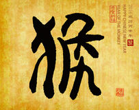 2016 is year of the monkey,Chinese calligraphy hou. translation: Royalty Free Stock Photo