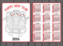 Year of the Monkey Chinese Zodiac. Chinese calendar for the year of monkey 2016 Stock Photo